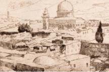 הרמן שטרוק, ירושלים, מסגד עומר 1937, II, מחט יבשה ואקווטינטה, אוסף המוזיאון
